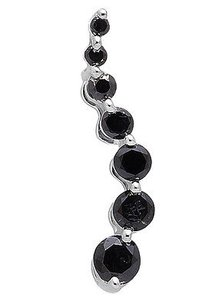 10k White Gold Journey Black Round-cut Diamond 34 Inch Pendant Charm 0.28ct.