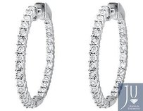 10k White Gold Miracle Set One Row Inside-out Diamond 1 Inch Hoop Earring 12ct