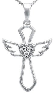 Other 10k White Gold Outline Angel Heart Genuine Diamond 1 Inch Pendant Charm 0.03ct