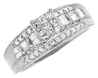 Other 10k White Gold Princess Diamond Round Baguette Wedding Engagement Ring 0.54ct