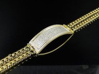 10k Yellow Gold 14mm Id Bar Two String Miami Cuban Link 9 Diamond Bracelet 3ct
