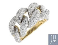 10k Yellow Gold 18mm Miami Cuban Link Style Genuine Diamond Statement Ring 4.0ct