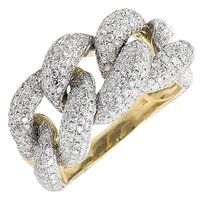 Other 10k Yellow Gold 18mm Miami Cuban Link Style Genuine Diamond Statement Ring 4.0ct