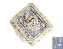 10k Yellow Gold 3d Lion Rectangle Nugget Frame Genuine Diamond Ring 1.50ct