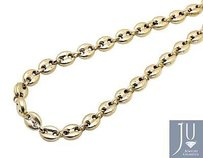 10k Yellow Gold 7mm Wide Puffed Mariner Anchor Link Chain Necklace 24-36 Inches