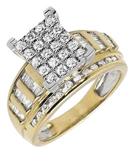 10k Yellow Gold 9mm Wide Round-cut And Baguette Engagement Diamond Ring 1.0ct.
