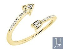 10k Yellow Gold Arrow Wrap Style Diamond Engagement Fashion Cocktail Ring .10ct