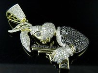 10k Yellow Gold Bugs Bunny Holding Gun Genuine Diamond Fashion Pendant 2.25ct