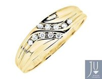 10k Yellow Gold Channel Set Diagonal Round Real Diamond Wedding Band Ring 0.12ct
