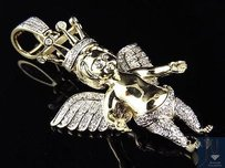 10k Yellow Gold Crown Angel Cherub Genuine Diamond Pendant Charm Inch 0.65ct.