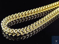 10k Yellow Gold Diamond Cut 5.5mm Wide Franco Box Link Chain Necklace 24-38 Ins