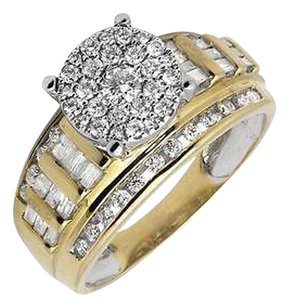 10k Yellow Gold Flower Round-cut And Baguette Diamond Engagement Ring 1.0ct