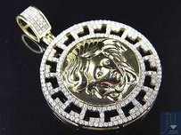 10k Yellow Gold Genuine Diamond Greek Design Bezel Medusa Pendant 0.65ct 1.25
