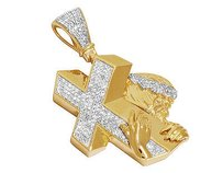 Other 10k Yellow Gold Genuine Diamonds Jesus Cross Crucifix Pendant Charm 1.50ct 2.0