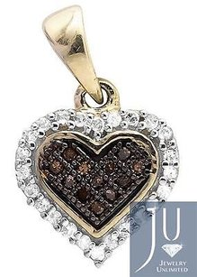 Other 10k Yellow Gold Heart Cognac Brown And White Diamond 12 Pendant Charm 0.13ct.