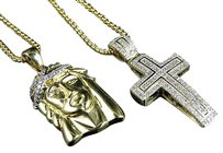 10k Yellow Gold Jesus Cross Real Diamond Pendant Rolo Puff Chain Combo 0.65ct