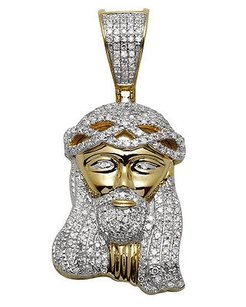 10k Yellow Gold Jesus Face Genuine Diamond Pendant Charm 0.85ct 1.5 Inches