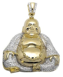10k Yellow Gold Laughing Buddha Wisdom Pearl 1.75 Diamond Pendant Charm 2.5ct