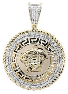 10k Yellow Gold Medusa Greek Key 1.25 Diamond Medallion Charm Pendant 0.75ct.