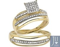 10k Yellow Gold Mensladies Square Split Shank Diamond Bridal Wedding Ring .50ct