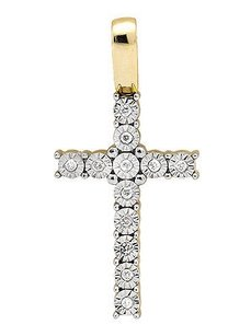 10k Yellow Gold Miracle Set One Row Genuine Diamond 1 Pendant Charm 0.15ct.