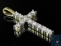 10k Yellow Gold One Row Cross 1.25 Inches Genuine Diamond Pendant Charm 0.25ct.