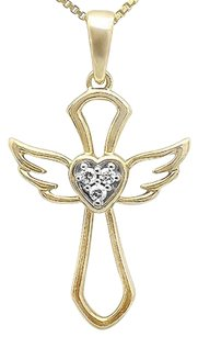 10k Yellow Gold Outline Angel Heart Genuine Diamond 1 Inch Pendant Charm 0.03ct
