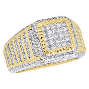 Other 10k Yellow Gold Princess Cut Diamond Fluted Pave Frame Pinky Ring Band 1.52 Ct.