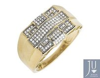 10k Yellow Gold Rectangle Frame Cross Genuine Diamond Groove Shank Ring 0.30ct.