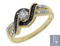 10k Yellow Gold Round Black White Diamond Engagement Fashion Wedding Ring 0.20ct