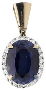 Other 10k Yellow Gold Royal Blue Gemstone Center 1.25 Inch Diamond Pendant 0.75ct.