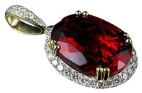 Other 10k Yellow Gold Royal Red Oval Ruby Gemstone Genuine Diamond Pendant Charm 1.5ct