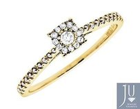 Other 10k Yellow Gold Square Halo Genuine Diamond Beaded Shank Engagement Ring 0.12ct