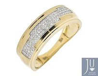 10k Yellow Gold Step Shape 7mm Genuine Diamonds Wedding Band Ring 0.38ct.