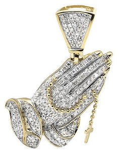 10k Yellow Gold Tilted Praying Hand Rosary 1.5 Inch Diamond Pendant Charm 1.25ct