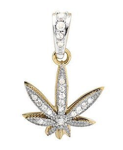 10k Yellow Gold Weed Marijuana Leaf 12 Inch Genuine Diamond Pendant Charm .35ct