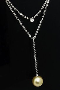 Other 12mm Pearl 14k White Gold 0.10 Ct Tcw Diamond Double Pendant Y Necklace N211