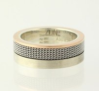 Mens Urban Zone Wedding Band - Sterling Silver Stainless Steel 14k Rose Gold