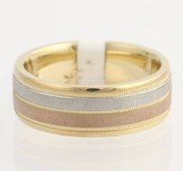 Mens Wedding Band - 14k Yellow White Rose Gold Textured Polished Fine