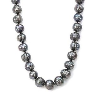 14k Gold Dark Grey Tahitian Cultured Pearl Necklace