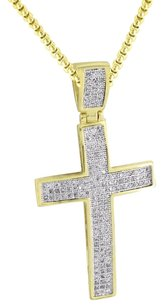 14k Gold Finish Cross Pendant Micro Pave Simulated Diamond Stainless Steel Chain