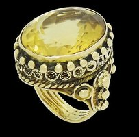 14k Gold X 18mm Oval Citrine High Pavilion Beaded Ring 17.4g R628