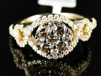 14k Ladies Womens Yellow Gold Brown White Diamond Engagement Band Ring 1.11 C