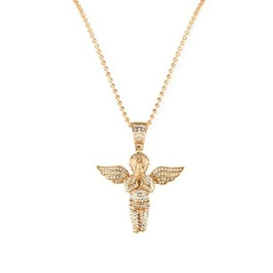 Other 14k Rose Gold Finish Praying Angel Figurine Stainless Steel Pendant Charm Chain