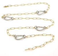 14k Two Tone Gold 2.2ct Double Sided Diamonds Textured Oval Link Necklace