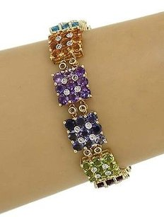 14k Two Tone Gold 24.60ctw Diamond Multi-color Gemstone Fancy Design Bracelet