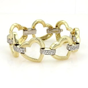 Other 14k Two Tone Gold 2ct Diamonds Open Heart Link Bracelet 8