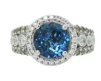 14k White Gold 0.27 Tcw Yellow White Diamonds London Blue Topaz Ring R738