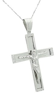 14k White Gold 0.32 Tcw Vs2-si1 G-h Diamond Jesus Cross Pendant N392