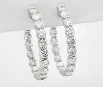 14k White Gold 5.75 Carats Vs Gh Diamond Inside Out Hoop Earrings 1.17 E28